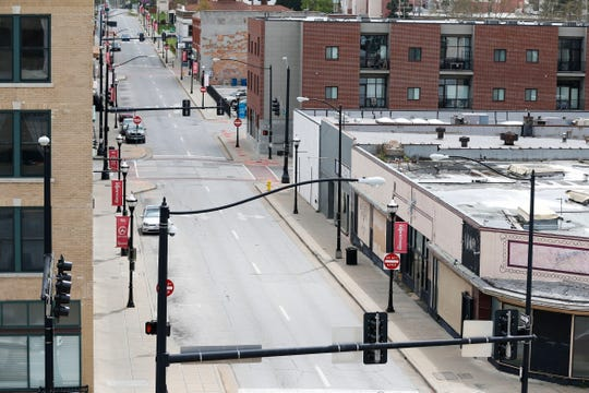 Traffic was very light on Campbell Avenue in downtown Springfield on Monday, April 6, 2020.