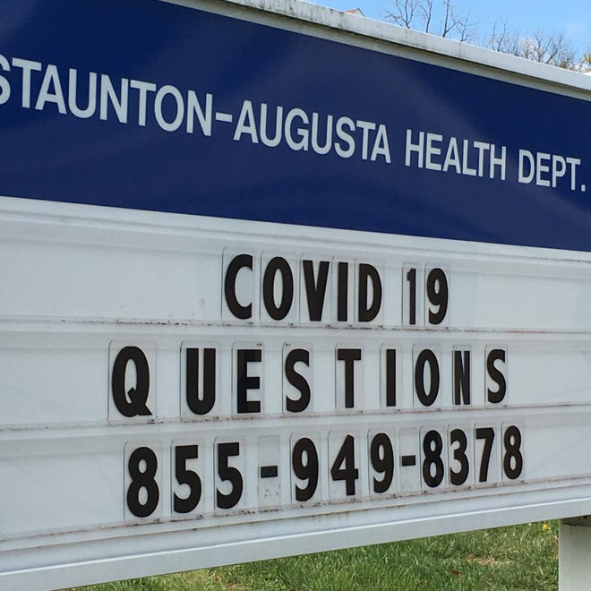 Call that number if you have questions about COVID-19. Sign at the Staunton-Augusta Health Department office at 1414 N. Augusta Street.