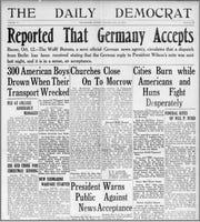 Headlines from Daily Democrat in October 1918.