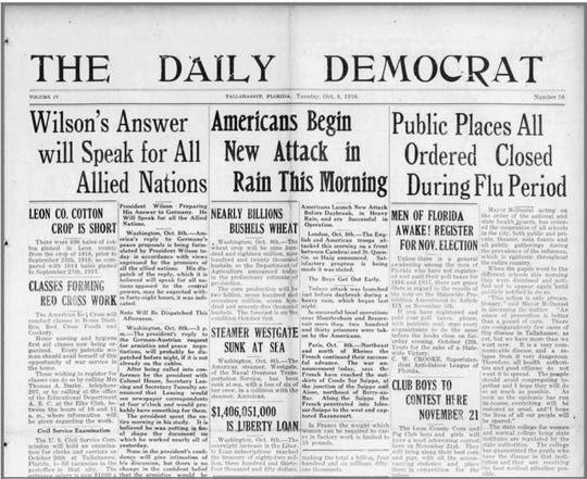 Flu in the headlines from The Daily Democrat in October, 1918.