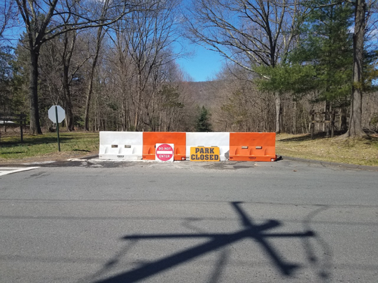 Barricades outside Kakiat County Park as Rockland announced all of its parks are closed to the public for at least two weeks.