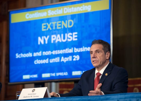 Gov. Andrew M. Cuomo provides a coronavirus update during a press conference in the Red Room at the State Capitol on Monday, April 7, 2020.