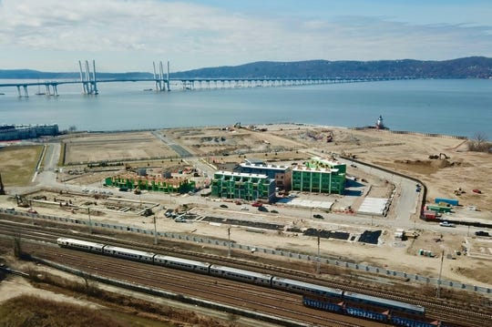 An aerial view of the Edge-on-Hudson in Sleepy Hollow from March 2020. The mixed use development is the former General Motors assembly plant.