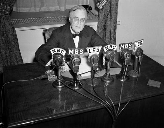 President Franklin D. Roosevelt addresses the nation from the White House on Feb. 27, 1941.