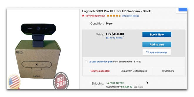 Logitech Brio sells more than twice its normal price on eBay
