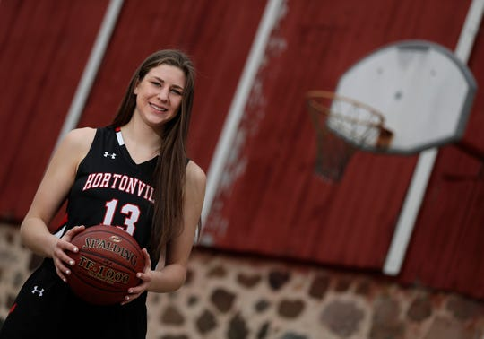 Hortonville High School senior Macy McGlone is The Post-Crescent girls basketball player of the year ...  Wednesday, April 1, 2020, in Dale, Wis.