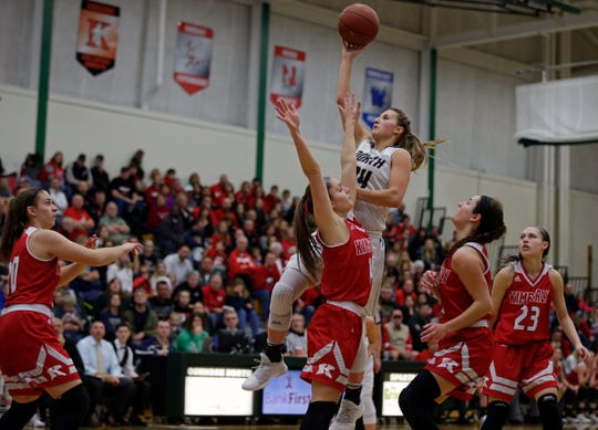 Sydney Levy of Appleton North puts up a shot in the lane against Kimberly during a WIAA Division 1 girls basketball sectional championship on March 3, 2018, at Oshkosh North High School in Oshkosh.