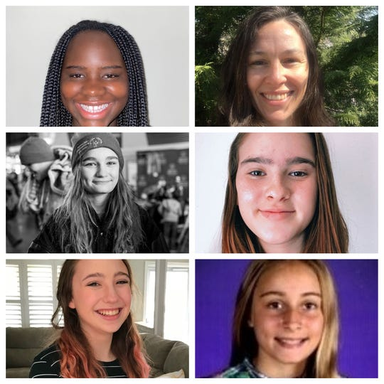 Staff of the Tinton Falls Middle School paper Panther Press, clockwise from the top; Dado Aw, 13, 8th Grade, English teacher Josie Swanson, Avery Paterson,14, 8th Grade, Amanda Growney, 14, 8th Grade, Nora Harr, 14, 8th Grade and Kasey Chonko, 14, 8th Grade