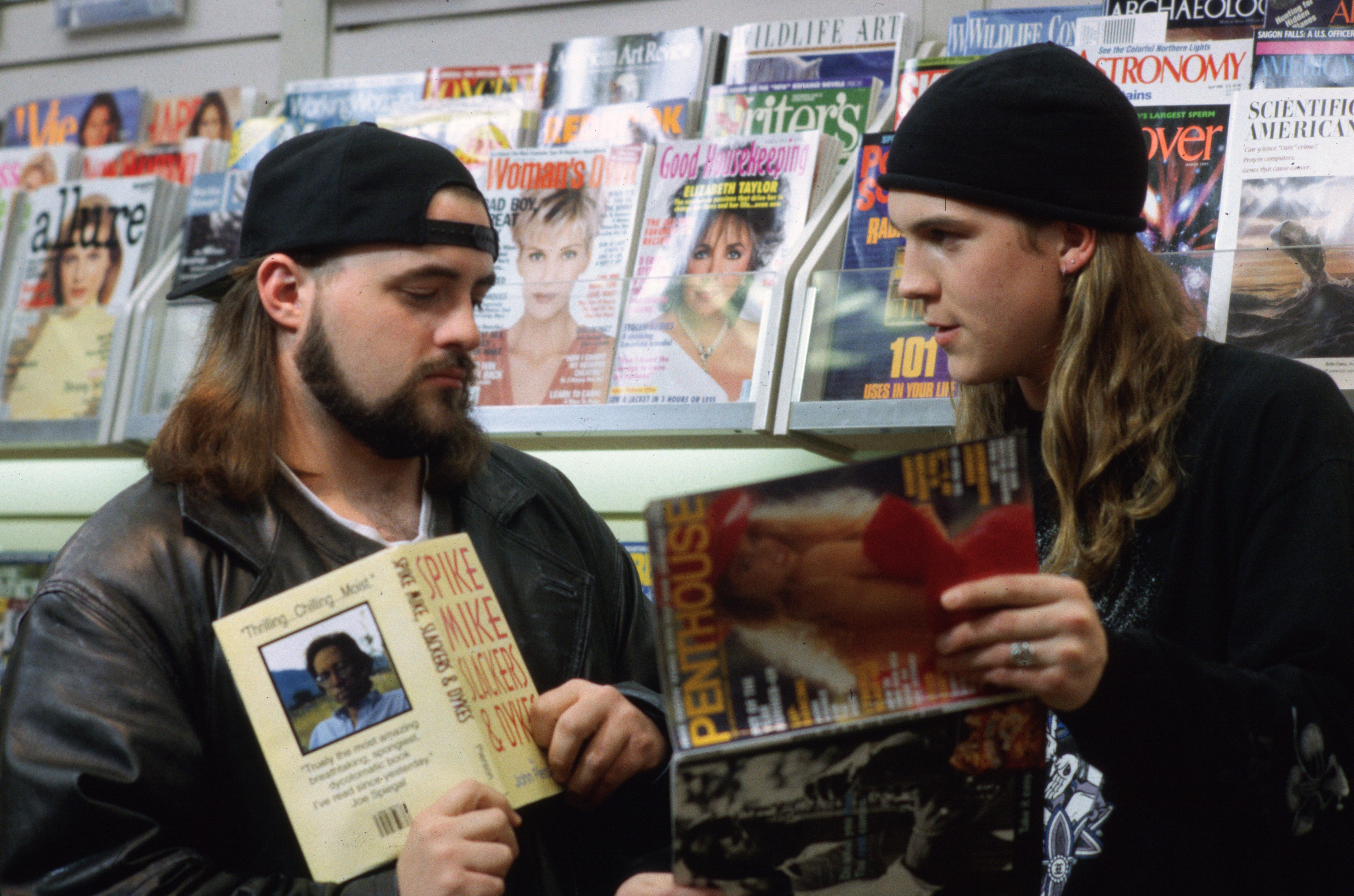 "Silent Bob (Kevin Smith), left, and Jay (Jason Mewes) in Smith's ""Mallrats."""