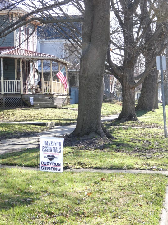 One of the flags designed by Rachel Striker, the owner of Print Happy, is displayed outside a Bucyrus home.