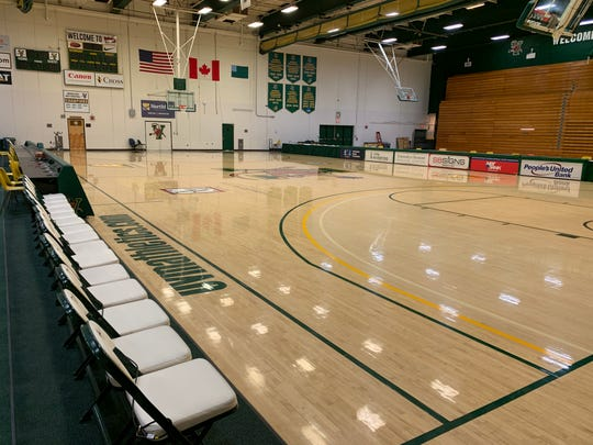 Patrick Gym is seen on March 12, two days before the University of Vermont was set to host the America East men's basketball championship game. It has since been converted into a possible surge site for COVID-19 patients.