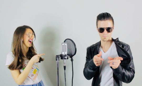 Carla Siravo (left) and her husband Mike Siravo (right) recorded music videos to the tune of popular songs and create song parodies about difficult spelling concepts  so she can teach her students rules about phonics. Siravo is a reading intervention teacher at a Haddon Township elementary school and her husband is an attorney as well as a musician and singer.
