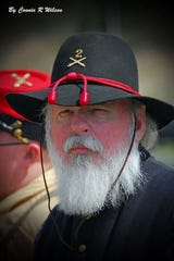 Bill Rubel dressed in costume for a Civil War re-enactment. On Friday, April 3, 2020, Rubel became the first reported Montgomery County death due to the coronavirus. Photo by Connie R. Wilson.
