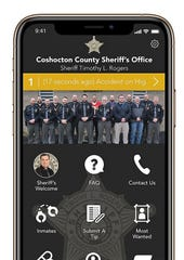 Sample screen image of the Coshocton County Sheriff's Office mobile phone app.