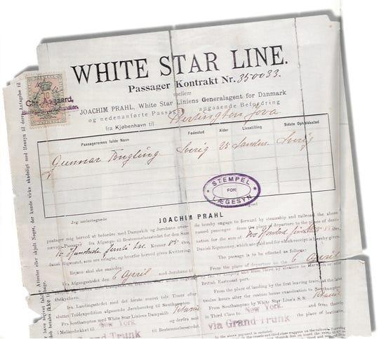 Swedish immigrant Gunnar Tenglin's fateful Titanic passage was booked in Copenhagen.