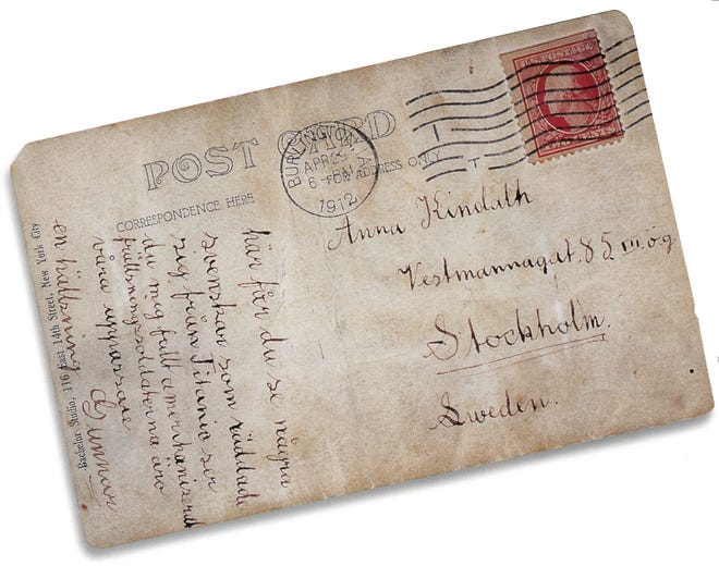 Gunnar Tenglin's family in Sweden didn't even know he'd been on the Titanic until his mother received this postcard, mailed two weeks after the disaster from Burlington, Ia.