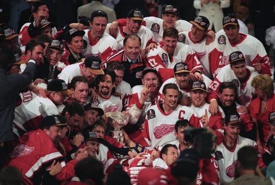 The team photo from the 1997 Stanley Cup champion Detroit Red Wings at Joe Louis Arena on June 7, 1997, after sweeping the Philadelphia Flyers. Captain Steve Yzerman is center.