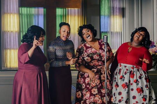 """Angela Birchett as Jacky, Shelea Frazier as Dorinda, Kierra Sheard as Karen and Raven Goodwin as Denise in """"The Clark Sisters: First Ladies of Gospel."""""""