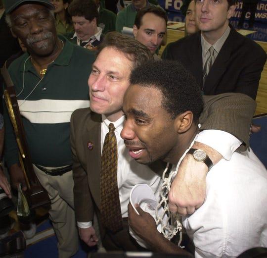 Mateen Cleaves and coach Tom Izzo shared tears of joy following their 2000 NCAA title.