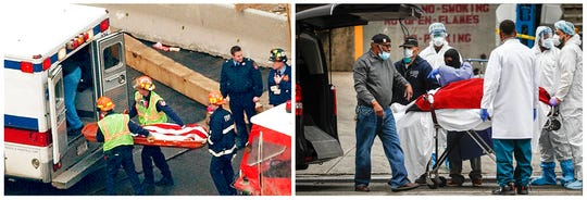 In this combination of photos, the flag-draped remains of a Sept. 11 victim are carried by New York firefighters during a recovery operation March 8, 2002, left, and at right, a body is unloaded from a refrigerated truck in New York during the coronavirus outbreak on March 31, 2020. New York City's death toll from the coronavirus officially eclipsed the number of those killed at the World Trade Center on 9/11, health officials said Tuesday, April 7, 2020.