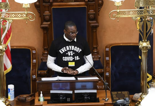 Lt. Governor Garlin Gilchrist ends the senate session after they voted to extend the state of emergency to a 23-day extension during a highly unusual session to vote whether to extend Gov. Gretchcen Whitmer's state of emergency, Tuesday, April 7, 2020.