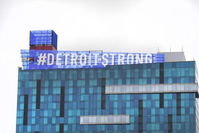 The Greektown Casino shows support and displays Detroit Strong atop its hotel as the battle against COVID-19 continues in Detroit on Tuesday, March 31, 2020