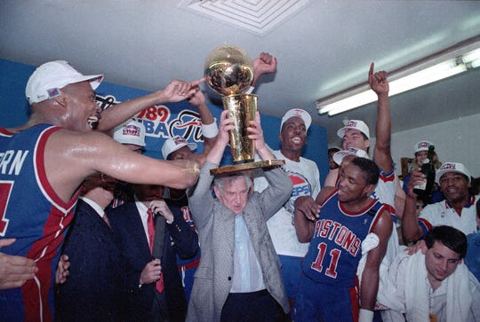 The Pistons celebrate their 1989 NBA title.