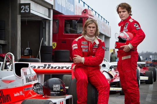 "Chris Hemsworth, left, and Daniel Bruhl starred in the 2013 movie ""Rush,"" which included scenes set at Watkins Glen's road course."