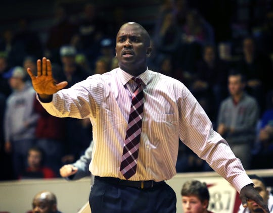 Gouard yelling out instructions to UIndy players in 2015.