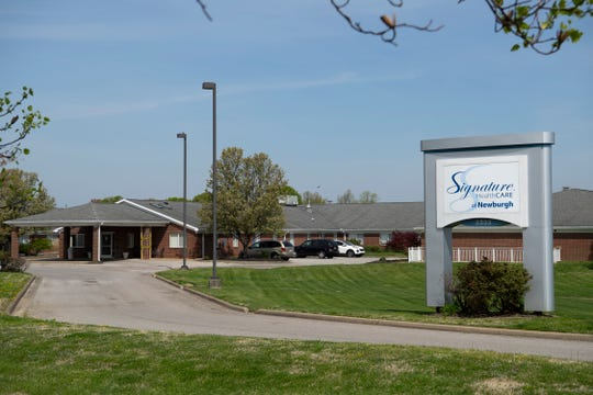 According to the Warrick County Health Department, 12 residents and one nurse at Signature Healthcare of Newburgh at 5233 Rosebud Lane in Newburgh, Ind., have died from complications of the COVID-19 virus. This picture was made April 7, 2020.