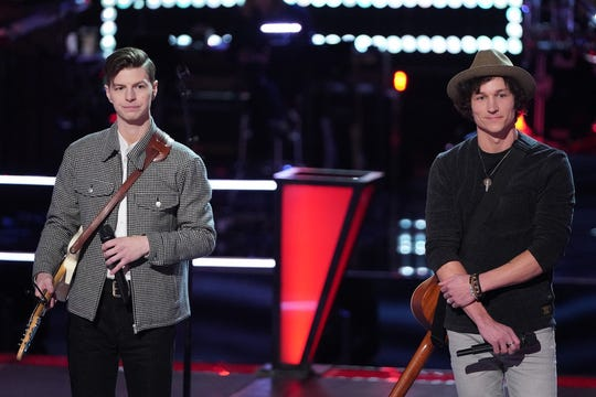 "Jacob Miller, left, competed against fellow Team Nick Jonas team member Kevin Farris in ""The Voice's"" ""Battle Rounds,"" which aired April 6."