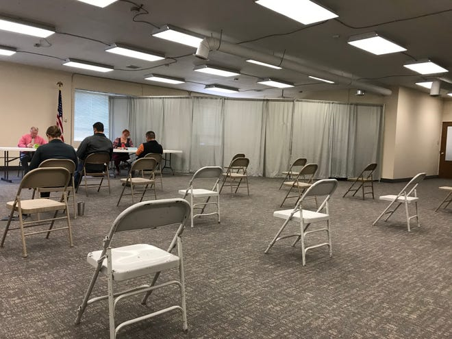 Cascade County commissioners met earlier in April and set up chairs 6 feet apart to meet social distancing guidelines.