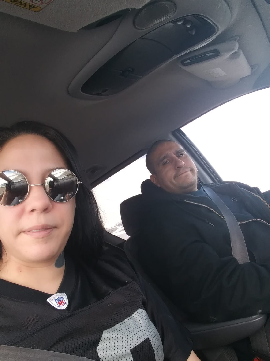 Jolene and Joseph Barrientes go for drives to get out of the house.