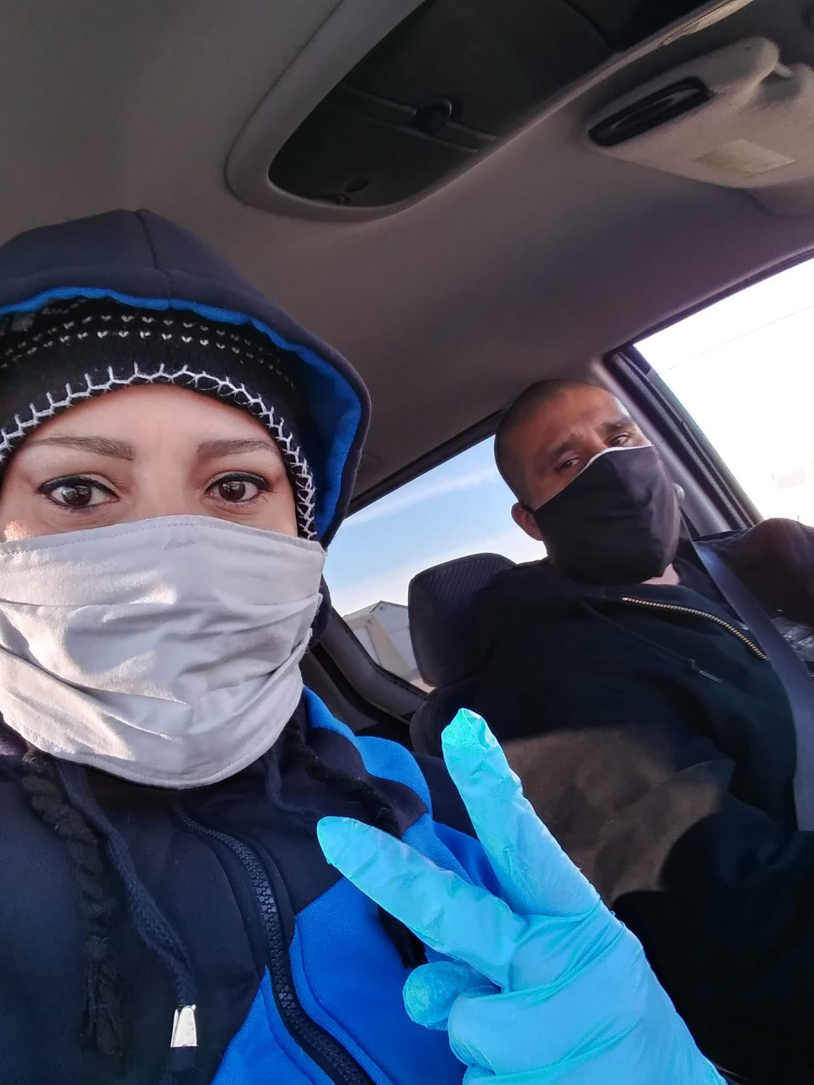 Jolene and Joseph Barrientes protect themselves when they leave the house to stay safe from the coronavirus.