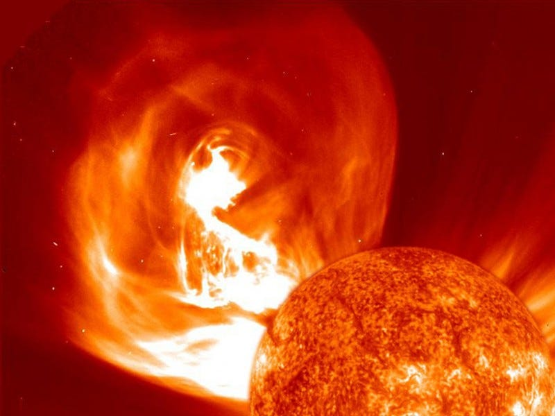 Image of a Coronal Mass Ejection. CMEs are explosive bursts of solar plasma and magnetic field that fly away from the Sun at thousands of kilometers an hour. Because they contain highly charged particles, CMEs can be dangerous to astronauts and cause serious damage to satellites. However, they can also cause the most spectacular lightshow on earth – the aurorae!
