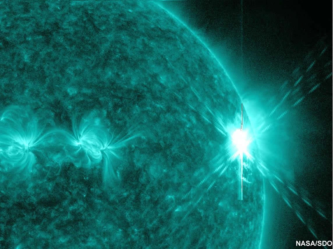 NASA's Solar Dynamics Observatory captured this extreme ultraviolet image in of a massive solar flare on August 9, 2011.