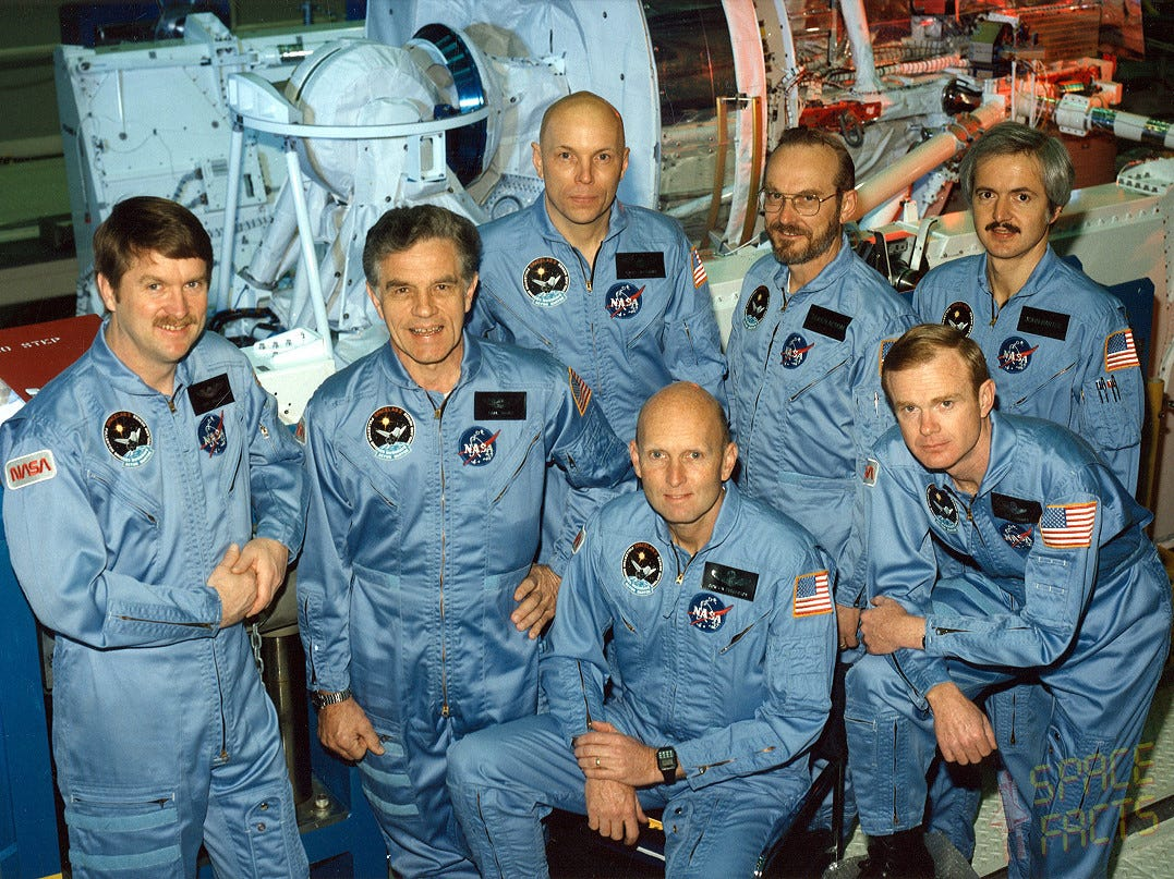 The crew of the Spacelab 2 shuttle mission. Kneeling left to right, are Gordon Fullerton, commander; and Roy Bridges, pilot. Standing, left to right, are mission specialists Anthony England, Karl Henize, and Story Musgrave; and payload specialists Loren Acton, and John-David Bartoe. Launched aboard the Space Shuttle Challenger on July 29, 1985.