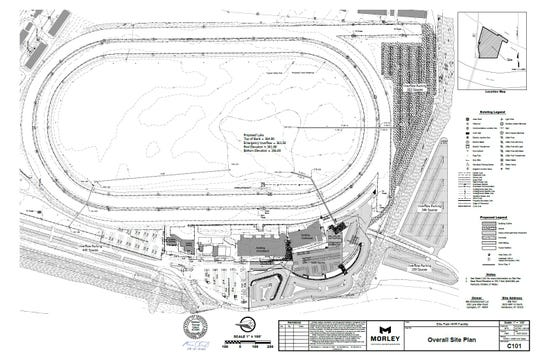 Plans submitted to the Henderson City-County Planning Commission show the overall location for Ellis Park's proposed Historical Racing Facility as well as locations for new parking areas and a lake in the infield. The plans were approved by the Planning Commission on Tuesday.