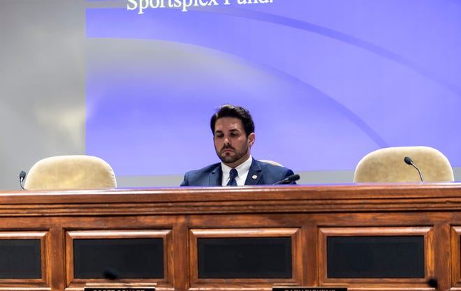 Jackson Mayor Scott Conger speaks to city council members via video chat to discuss their budget at Jackson City Hall in Jackson, Tenn., on Tuesday, April 7, 2020.
