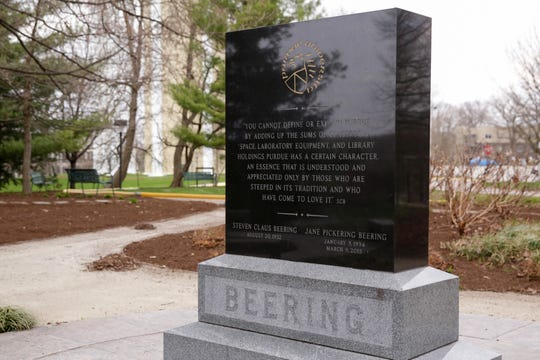 A stone marks the location where the ashes of Jane Beering, wife of former Purdue President Steven Beering, were scattered in a memorial garden on Slayter Hill, Tuesday, April 7, 2020 in West Lafayette.