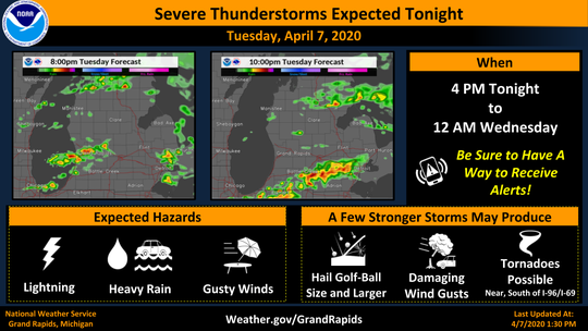 National Weather Service officials expect severe thunderstorms Tuesday, April 7, 2020.