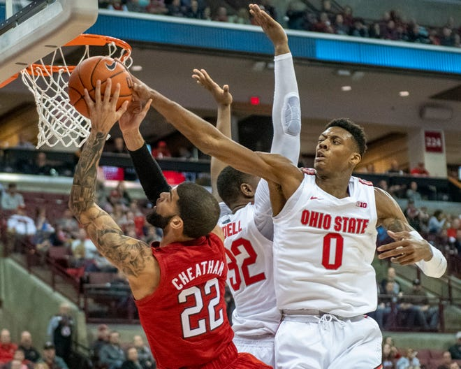 Ohio State's Alonzo Gaffney (0) goes up for a block shot against Nebraska earlier this season. The freshman forward has left the team.