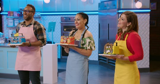 "Former Milwaukee morning news anchor Whitney Martin (right) is among the contestants in the new season of the baking-competition show ""Nailed It!"" on Netflix."