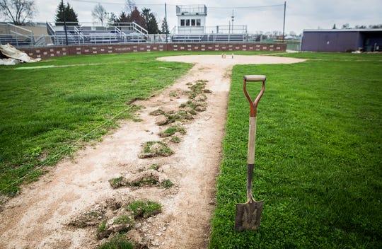 Central's baseball diamond sits empty Tuesday, April 7, 2020.