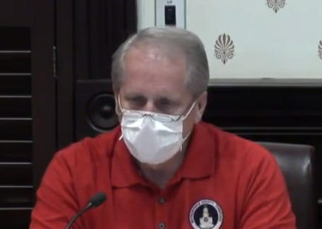 Rutherford County Mayor Bill Ketron wears a surgical mask while speaking to County Commission Steering, Legislative & Governmental Committee Monday night (April 6, 2020) in the courtroom of the County Courthouse.