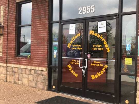 Closed signs are on the door of Mellow Mushroom Pizza at 2955 Rutherford Blvd. in Murfreesboro. The permanent closure of the store was announced publicly on the Facebook page, which has now been deactivated.