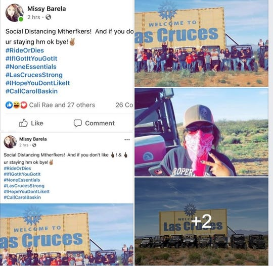"A Facebook post believed to have been published on April 5 shows people gathered around off-road vehicles despite public health orders on physical distancing and avoiding groups of more than five. Among the hashtags are #IfIGotItYouGotIt - ""If I got it, you got it."" At least one employee of the Las Cruces Public Schools was identified."