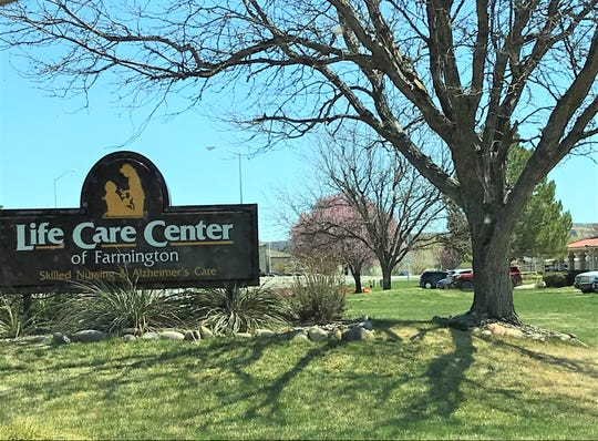 The sign outside of Life Care Center of Farmington is pictured, Tuesday, April 7, 2020, in Farmington.