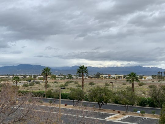 Dark clouds cover the Coachella Valley Tuesday, April 7, 2020. A Southern California storm was expected to bring rain to the desert, but forecasters say the region may avoid precipitation.