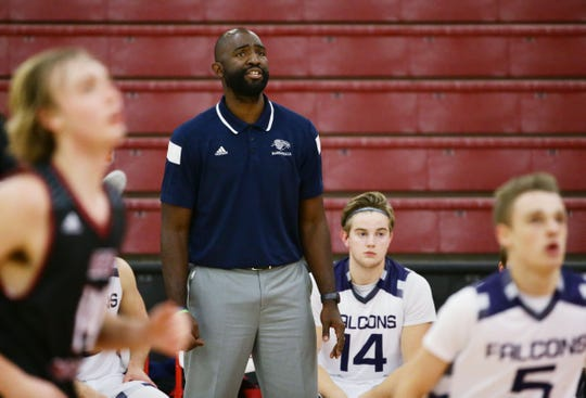 Cactus Shadows High coach Jamaal Scott during Paradise Valley Thanksgiving Basketball tournament at Paradise Valley High School on Nov. 22, 2016 in Phoenix, Ariz.